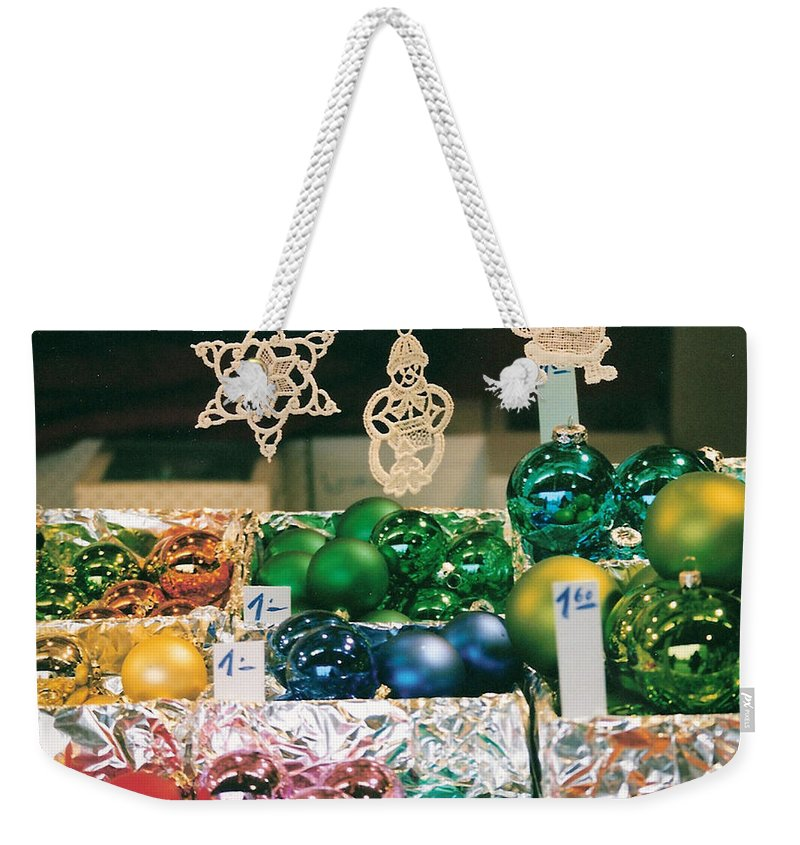 Christmas Weekender Tote Bag featuring the photograph Christkindlmarkt Vienna Ornaments by Lauri Novak