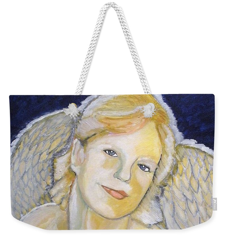 Angel Weekender Tote Bag featuring the painting Christmas Angel  Finished by J Bauer