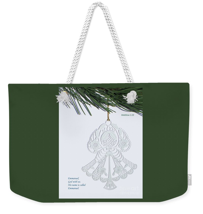 Christmas Weekender Tote Bag featuring the photograph Christmas Angel by Ann Horn