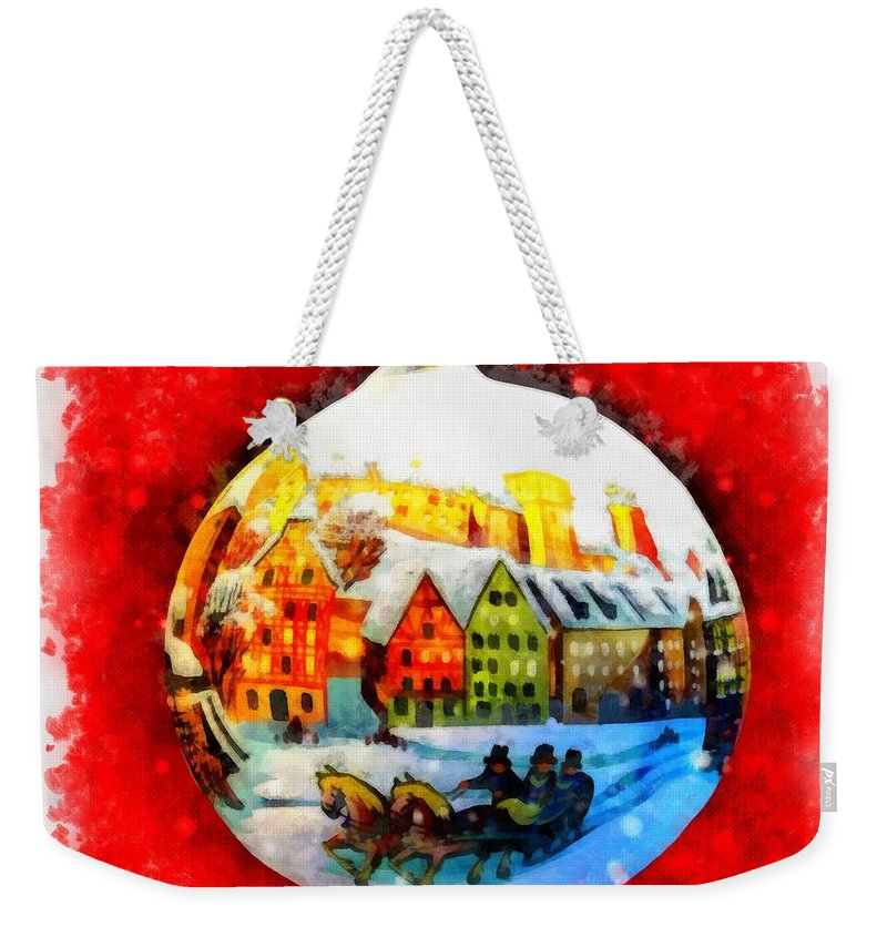 Christmas Weekender Tote Bag featuring the painting Christmas Ball Ball by Esoterica Art Agency