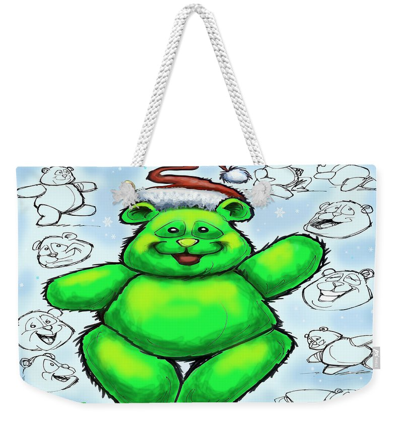 Christmas Weekender Tote Bag featuring the greeting card Christmas Bear by Kevin Middleton