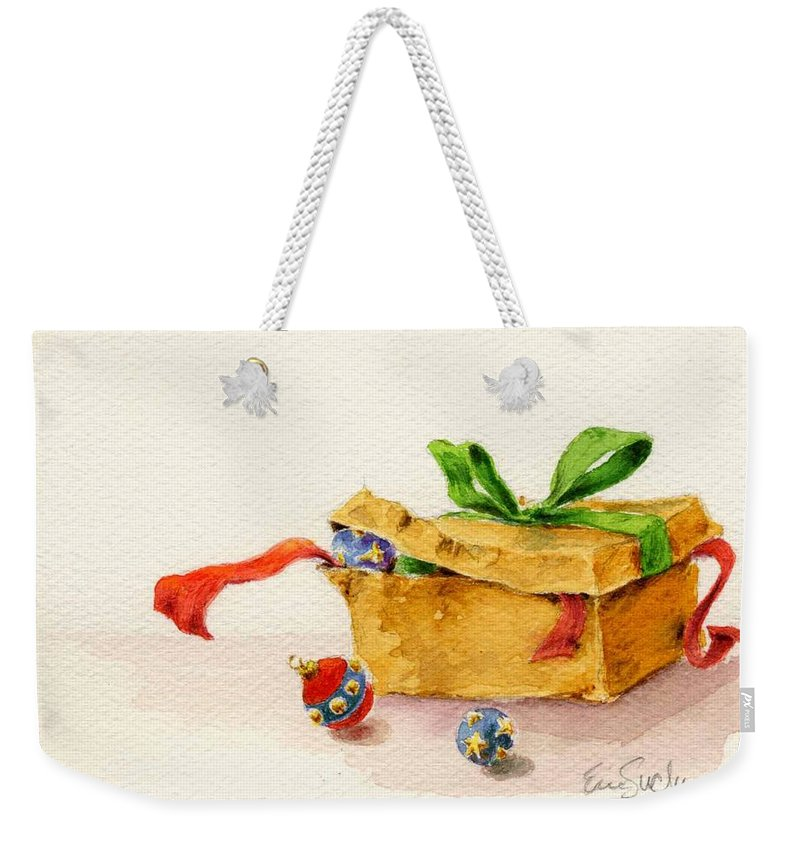Ornaments Weekender Tote Bag featuring the painting Christmas Box by Eric Suchman