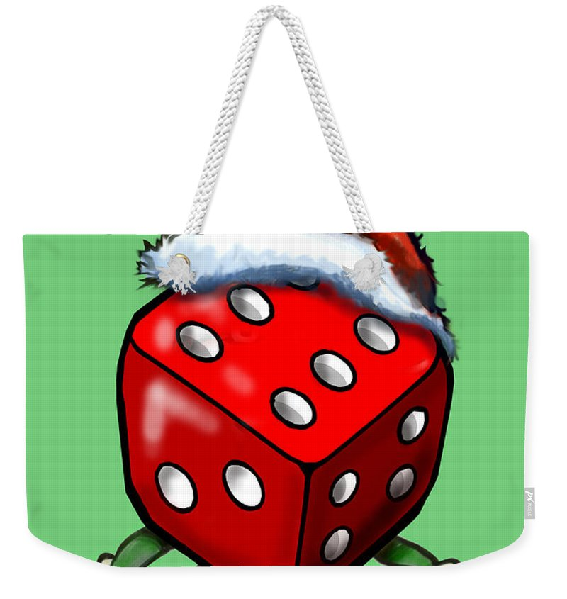 Christmas Weekender Tote Bag featuring the greeting card Christmas Casino Party by Kevin Middleton