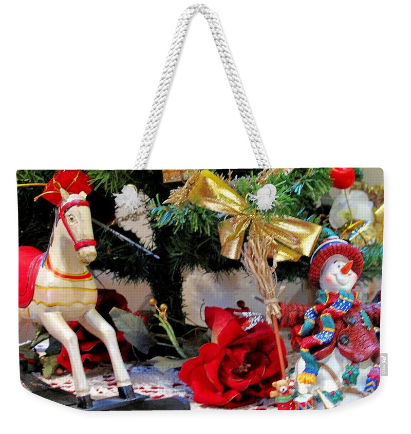 Rocking Horse Weekender Tote Bag featuring the photograph Christmas Characters by Ian MacDonald