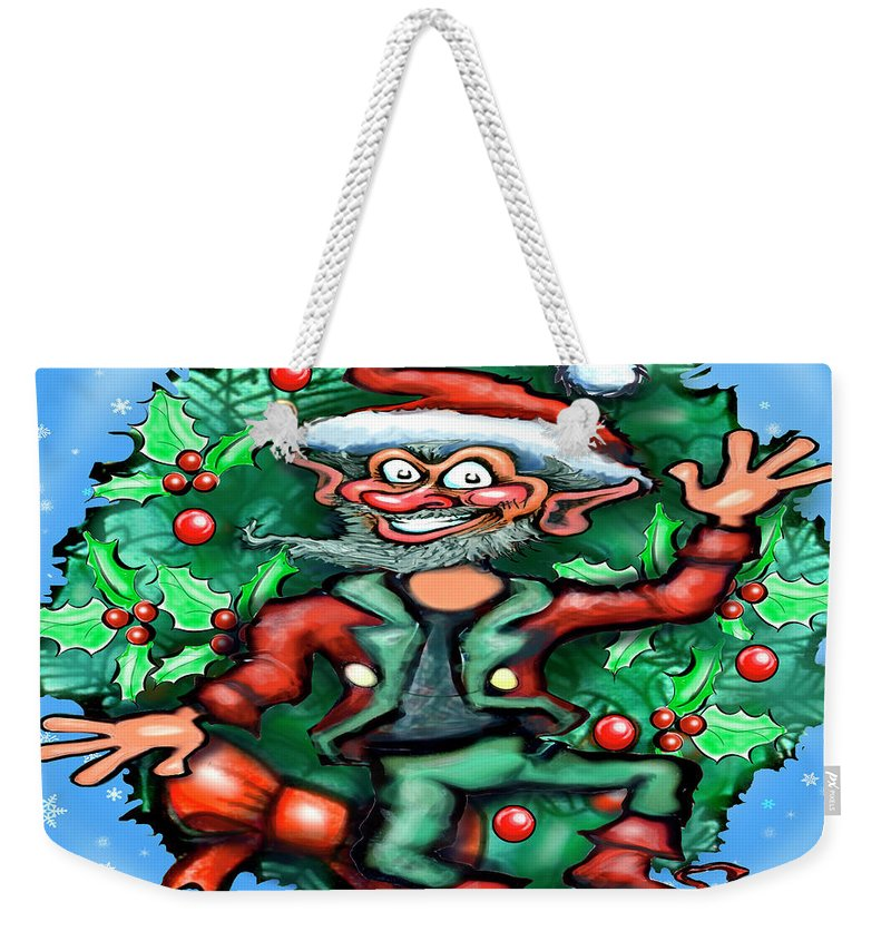 Christmas Weekender Tote Bag featuring the digital art Christmas Elf by Kevin Middleton