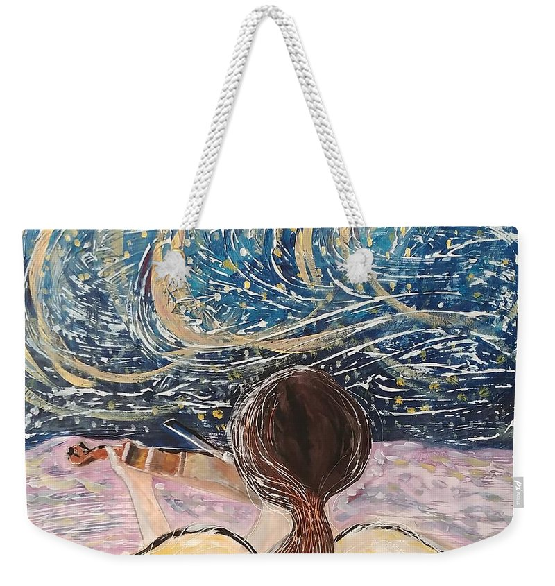 Angel Weekender Tote Bag featuring the painting christmas Eve and a Starry Night by J Bauer