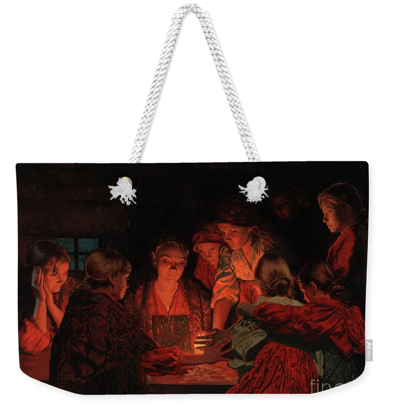 Christmas Weekender Tote Bag featuring the painting Christmas Fortune-telling. by Simon Kozhin