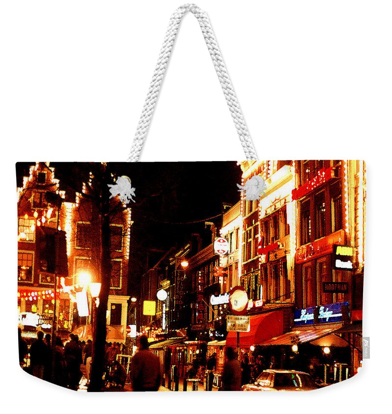 Night Weekender Tote Bag featuring the photograph Christmas In Amsterdam by Nancy Mueller