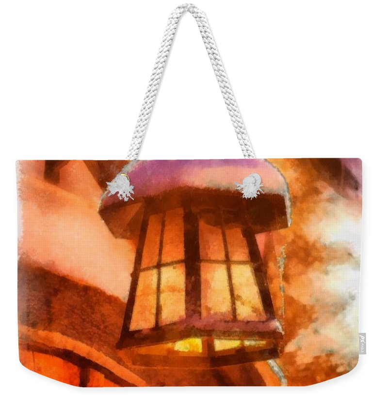 Christmas Weekender Tote Bag featuring the painting Christmas Lamp by Esoterica Art Agency