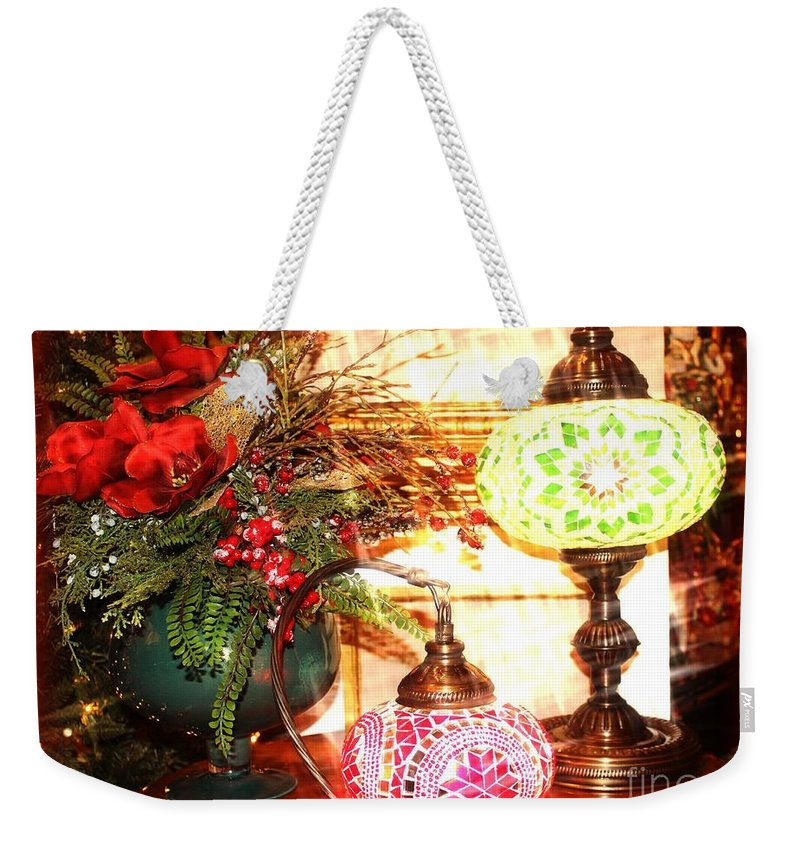 Christmas Weekender Tote Bag featuring the photograph Christmas Lamps by Jenny Revitz Soper