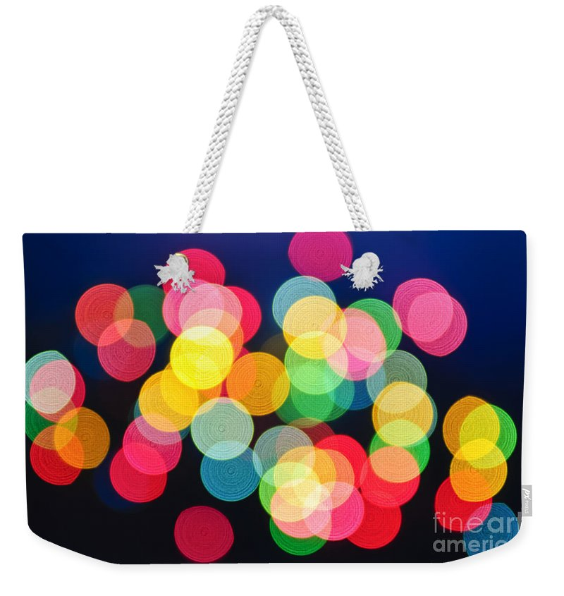 Blurred Weekender Tote Bag featuring the photograph Christmas Lights Abstract by Elena Elisseeva