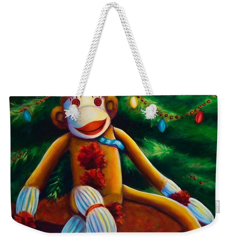 Sock Monkey Weekender Tote Bag featuring the painting Christmas Made of Sockies by Shannon Grissom