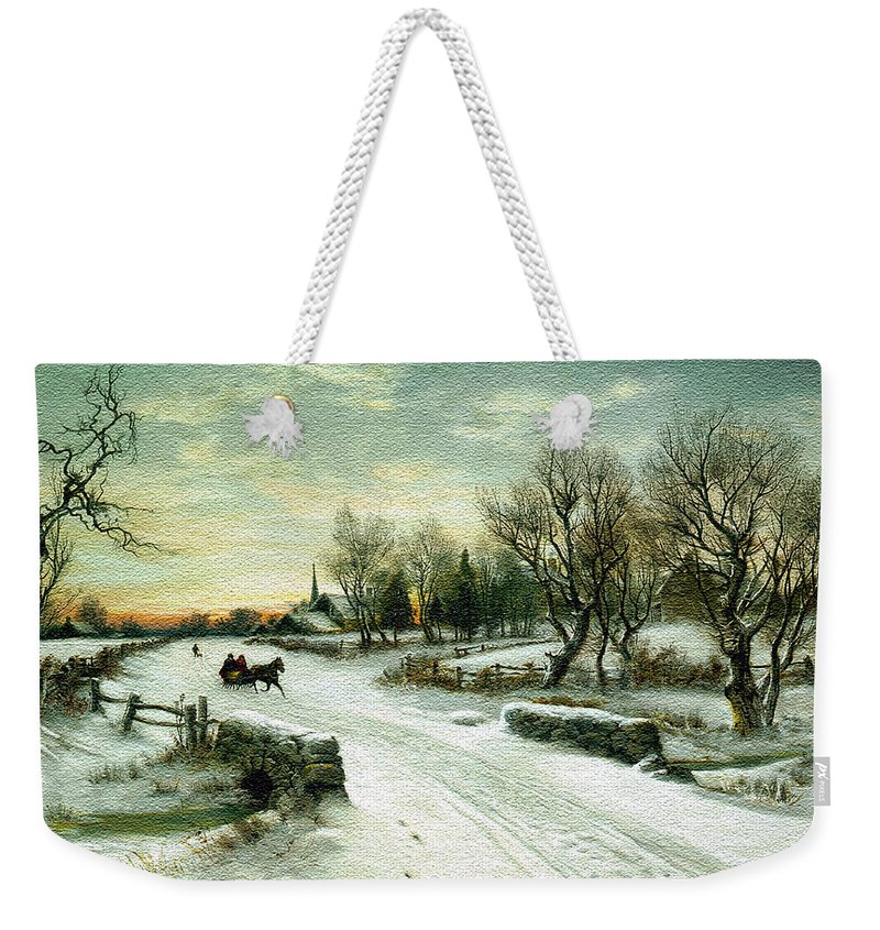 Christmas Weekender Tote Bag featuring the photograph Christmas Morn Textured by Aimee L Maher ALM GALLERY