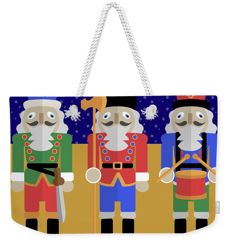 The Nutcracker Weekender Tote Bag featuring the digital art Christmas Nutcrackers by Claire Huntley