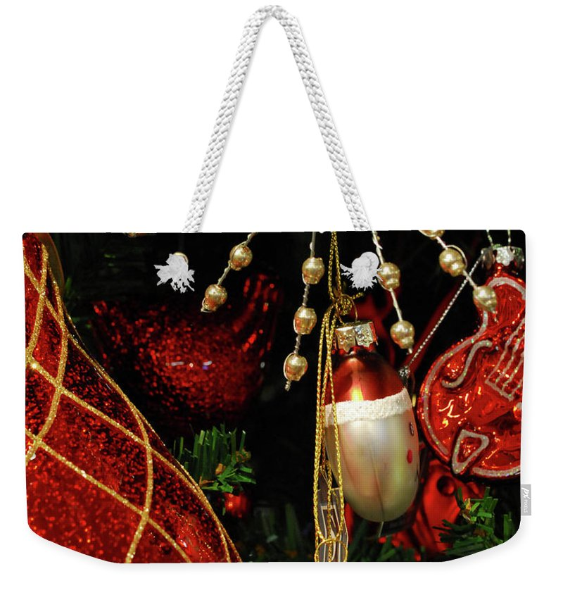 Christmas Weekender Tote Bag featuring the photograph Christmas Ornaments 1 by Nancy Mueller