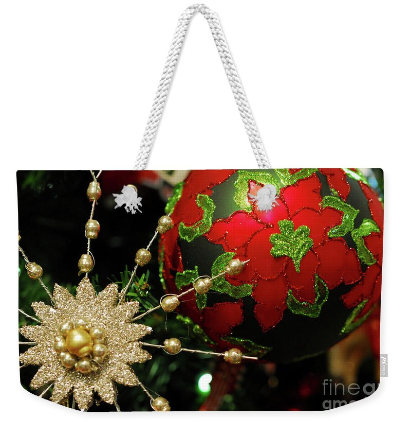 Christmas Weekender Tote Bag featuring the photograph Christmas Ornaments 2 by Nancy Mueller