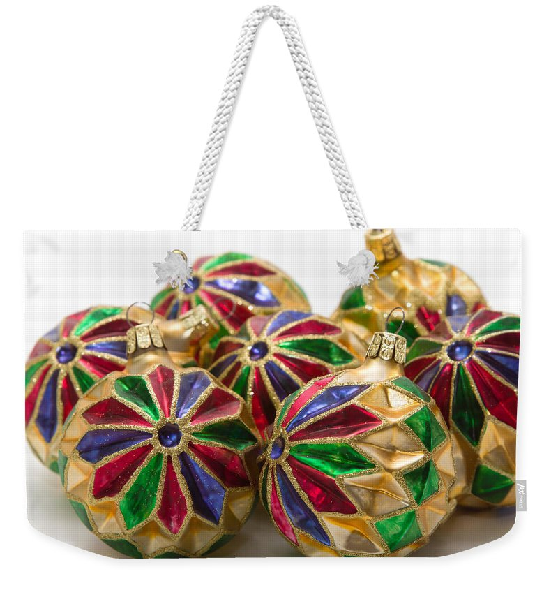 Christmas Weekender Tote Bag featuring the photograph Christmas Ornaments by Louise Heusinkveld