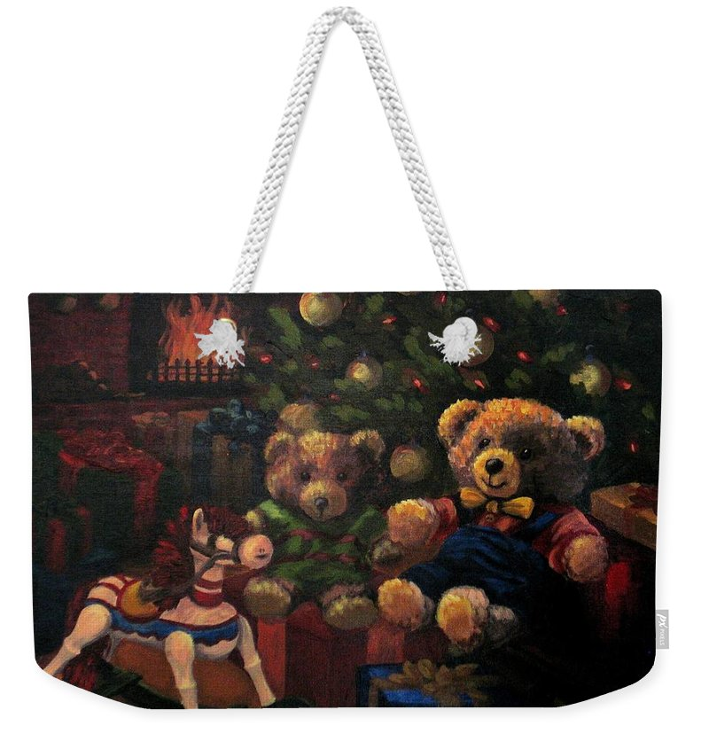 Christmas Weekender Tote Bag featuring the painting Christmas Past by Karen Ilari