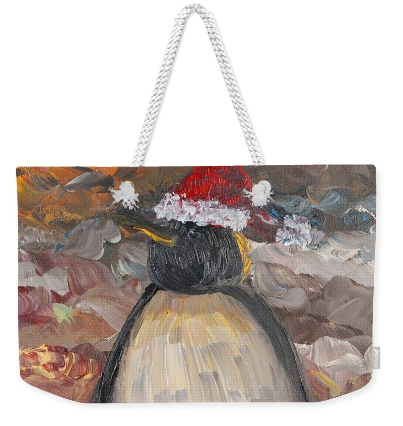 Penguin Weekender Tote Bag featuring the painting Christmas Penguin by Nadine Rippelmeyer