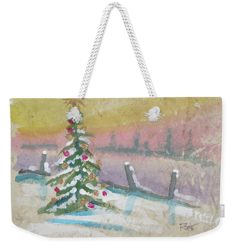 Snowy Christmas Lights Weekender Tote Bag featuring the painting Christmas by RB Anderson