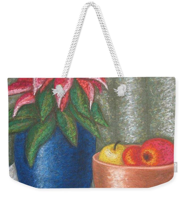 Christmas Rose Weekender Tote Bag featuring the pastel Christmas Rose by Stella Velka