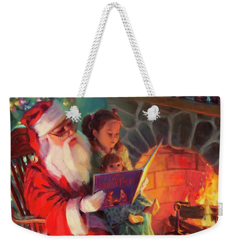 Christmas Weekender Tote Bag featuring the painting Christmas Story by Steve Henderson
