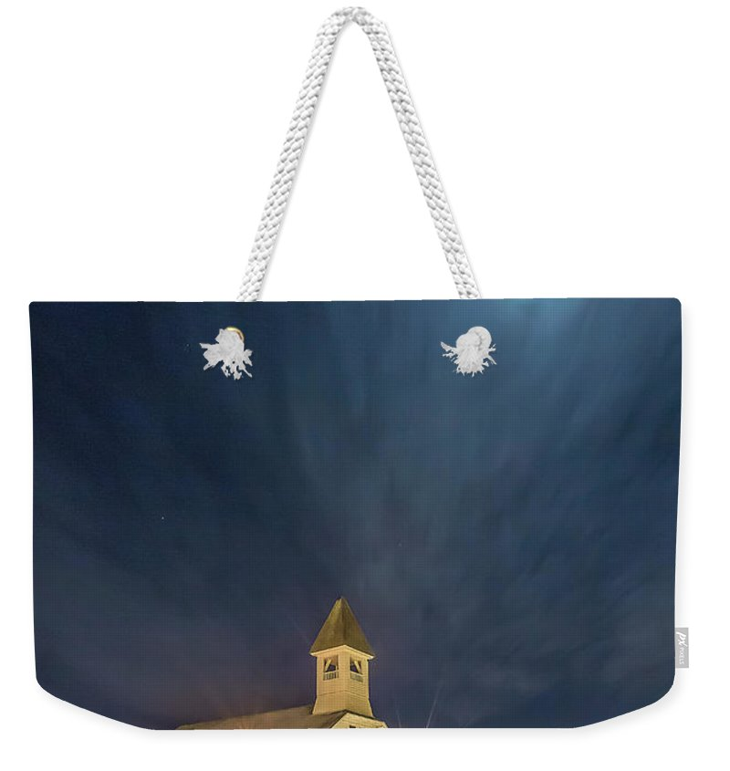 Church Weekender Tote Bag featuring the photograph Christmas Time Full Moon by Monica Hall