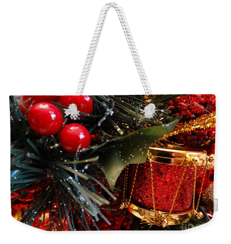Snowman Weekender Tote Bag featuring the photograph Christmas Time Is Here by Gina Sullivan