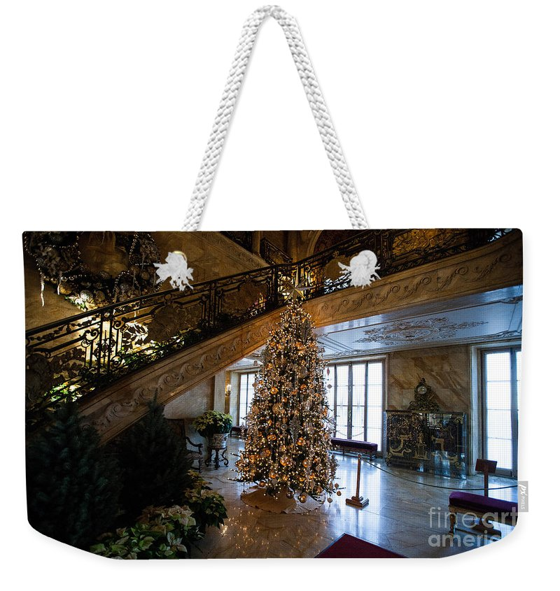 Travel Weekender Tote Bag featuring the photograph Christmas Tree And Staircase Marble House Newport Rhode Island by Jason O Watson