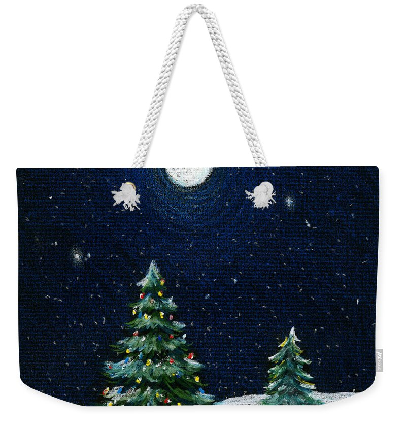 Christmas Trees Weekender Tote Bag featuring the drawing Christmas Trees In The Moonlight by Nancy Mueller