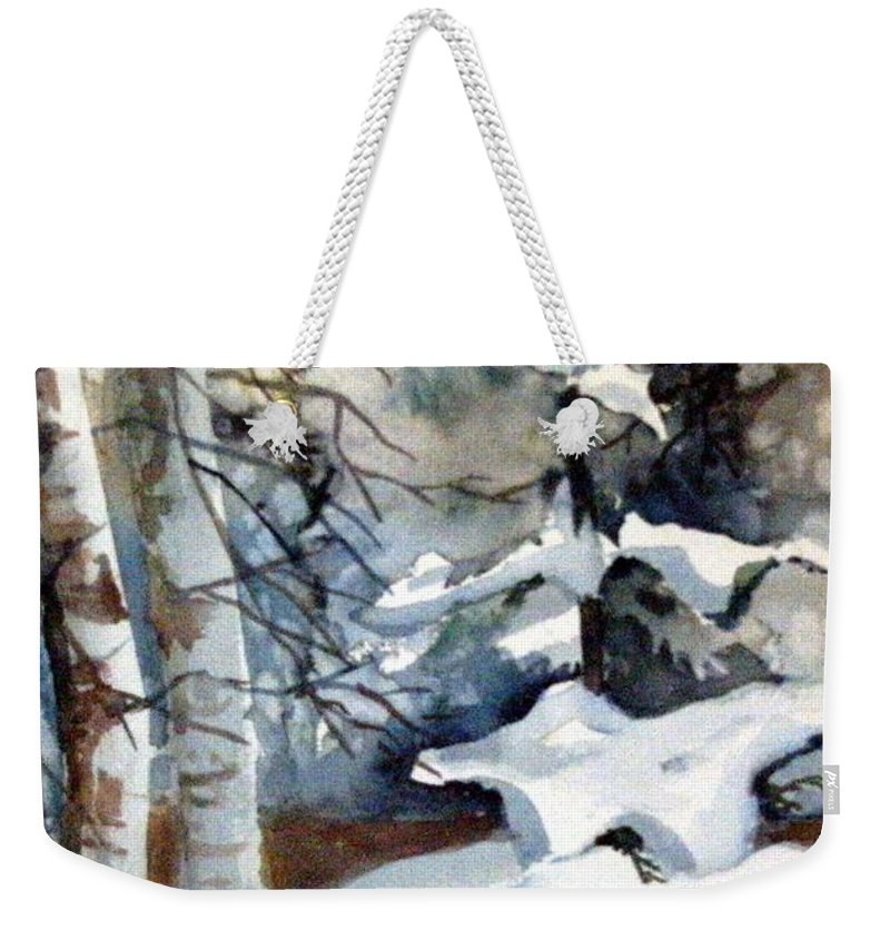 Christmas Trees Weekender Tote Bag featuring the painting Christmas Trees by Mindy Newman