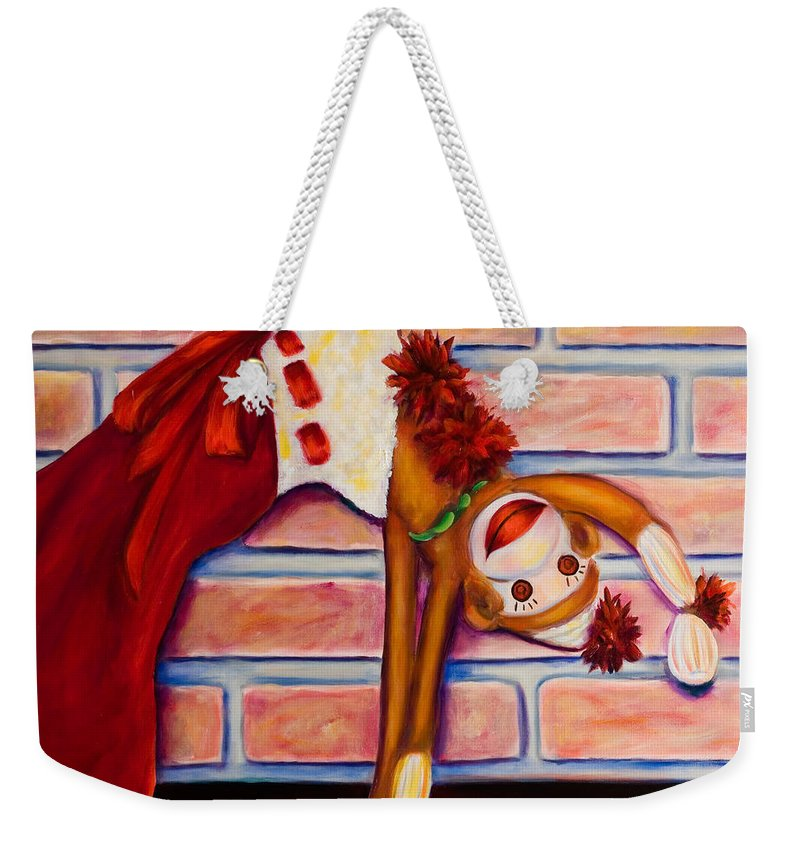 Sock Monkey Weekender Tote Bag featuring the painting Christmas With Care by Shannon Grissom