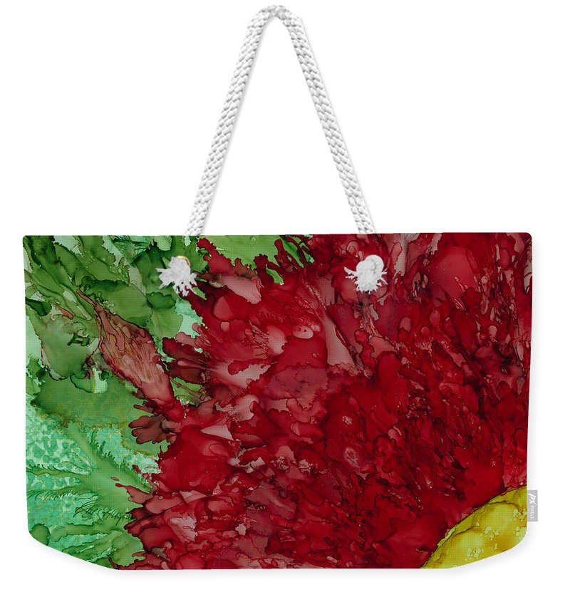 Red Flowers Weekender Tote Bag featuring the painting Christmas Yet? by Debora Boudreau