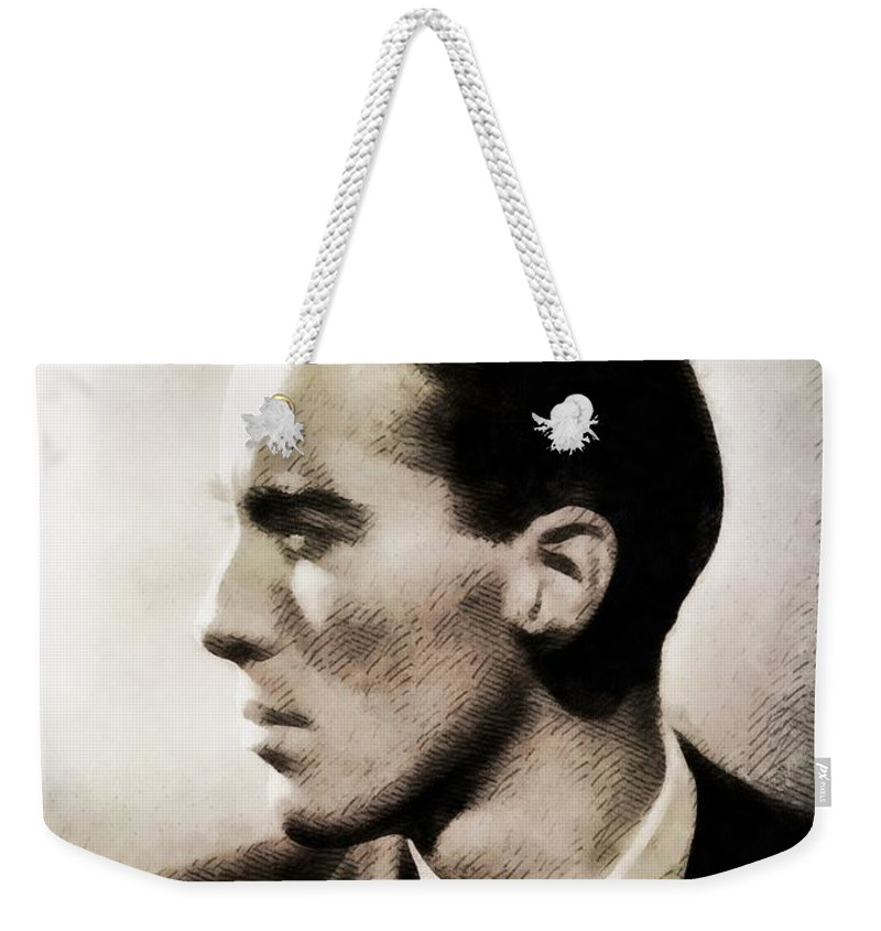 Hollywood Weekender Tote Bag featuring the painting Christopher Lee, Vintage Actor by John Springfield