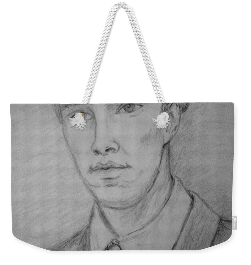 Parade's End Weekender Tote Bag featuring the drawing Christopher Tietjens by Joan-Violet Stretch