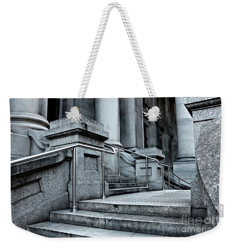 Marble Weekender Tote Bag featuring the photograph Chrome Balustrade by Stephen Mitchell