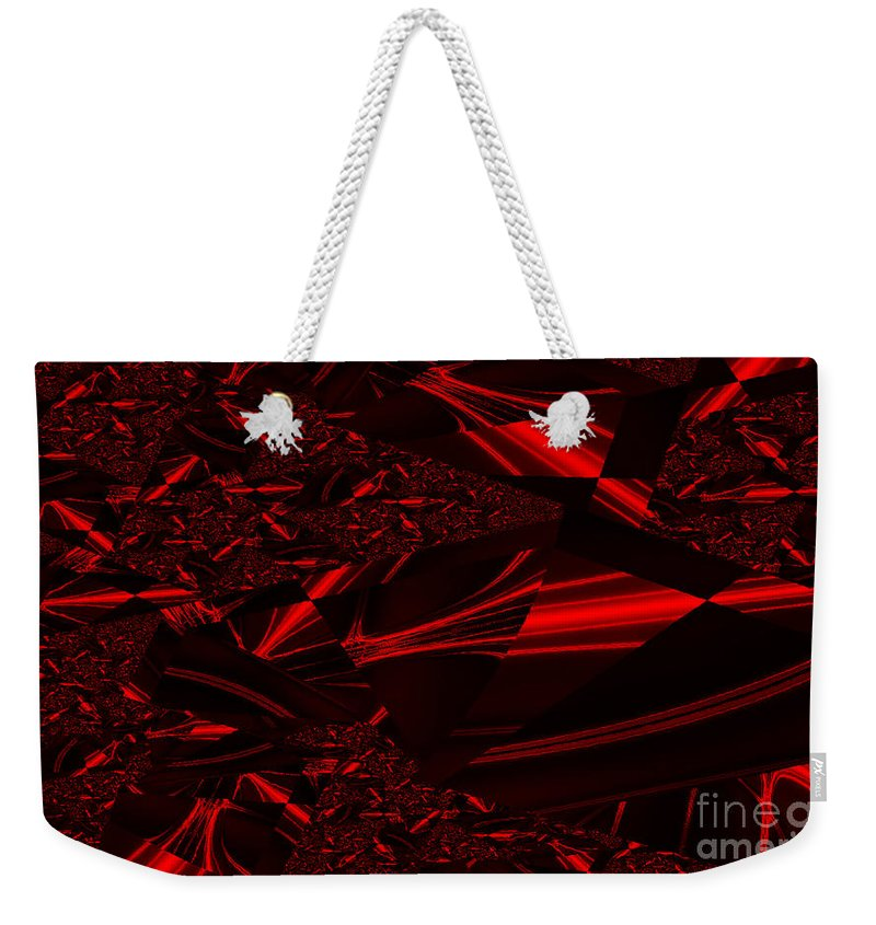 Clay Weekender Tote Bag featuring the digital art Chrome In Red by Clayton Bruster