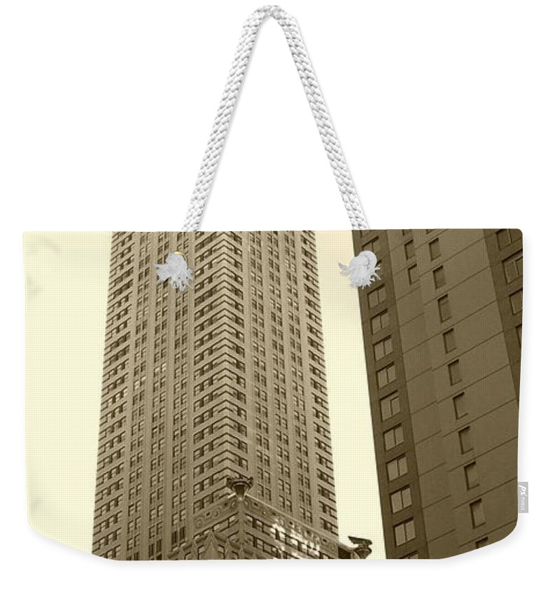 New York Weekender Tote Bag featuring the photograph Chrysler Building by Debbi Granruth