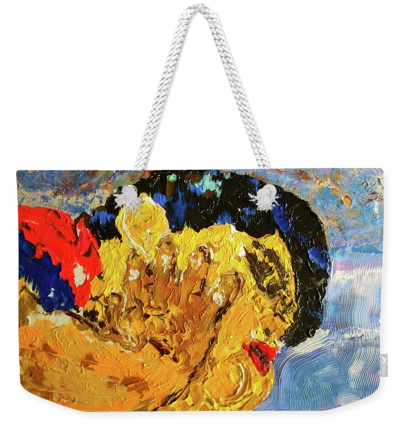 Marwan George Khoury Weekender Tote Bag featuring the painting Chubby In Dreamland by Marwan George Khoury