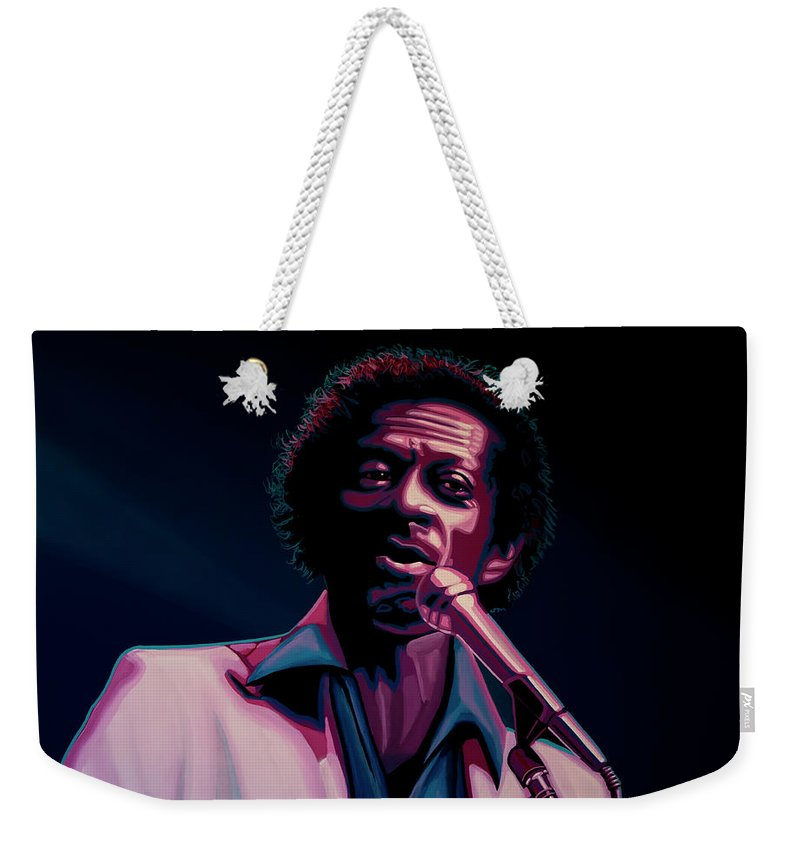 Chuck Berry Weekender Tote Bag featuring the painting Chuck Berry by Paul Meijering