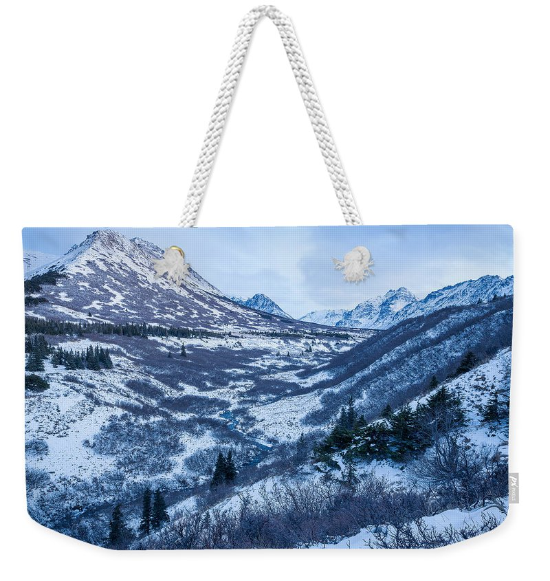 Alaska Weekender Tote Bag featuring the photograph Chugach In Winter Twilight by Tim Newton