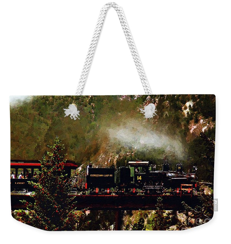 Americana Weekender Tote Bag featuring the painting Chugging Across The Devil's Gate by RC DeWinter