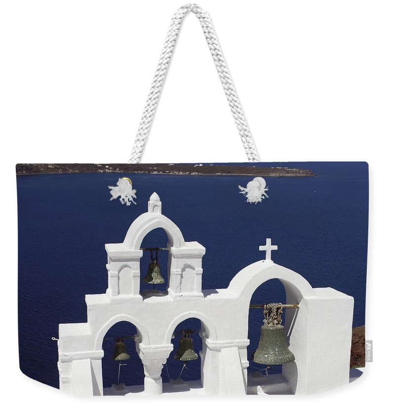 Greek Orthodox Church Weekender Tote Bag featuring the photograph Church Bells And The Sea by Sally Weigand