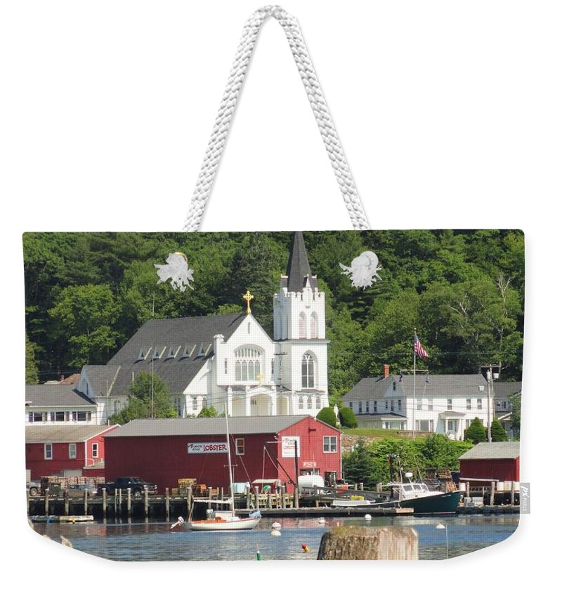 Maine Weekender Tote Bag featuring the photograph Church In Boothbay by Meandering Photography