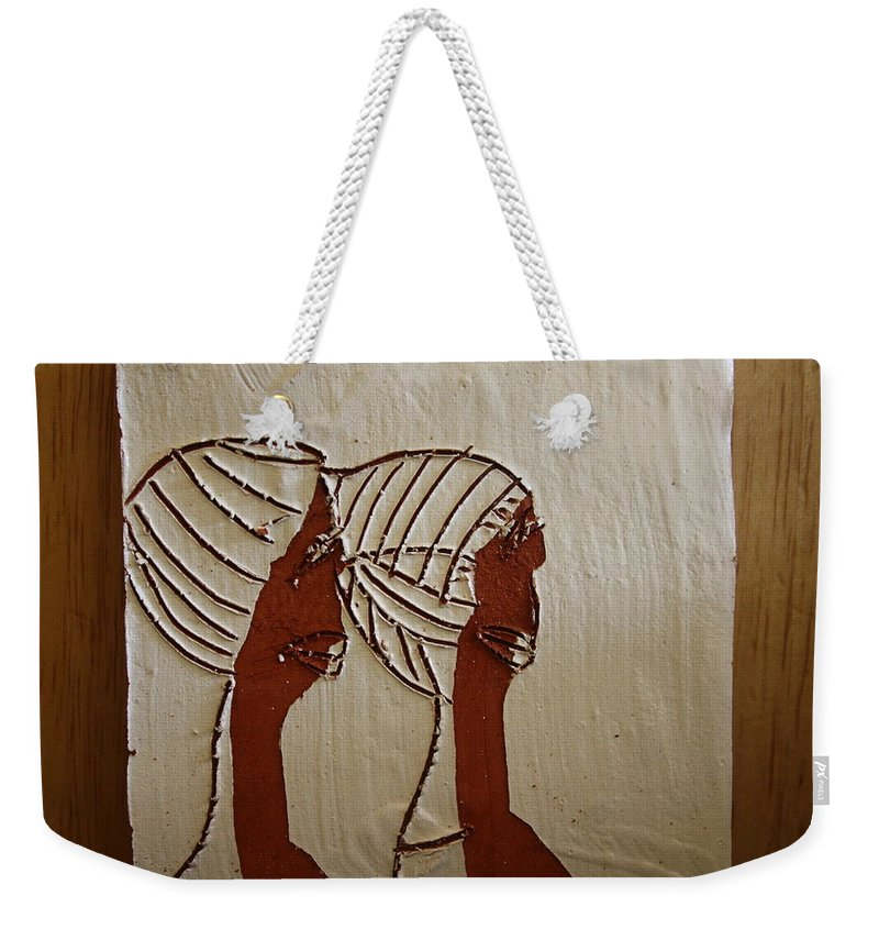 Jesus Weekender Tote Bag featuring the ceramic art Church Ladies - Tile by Gloria Ssali