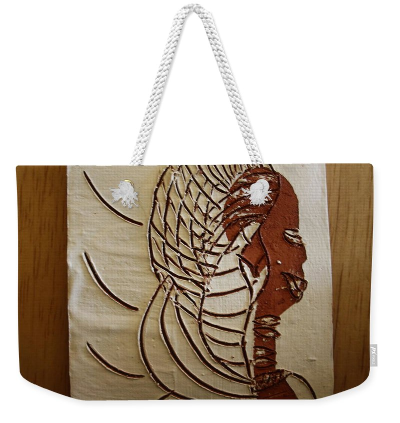 Jesus Weekender Tote Bag featuring the ceramic art Church Lady 4 - Tile by Gloria Ssali