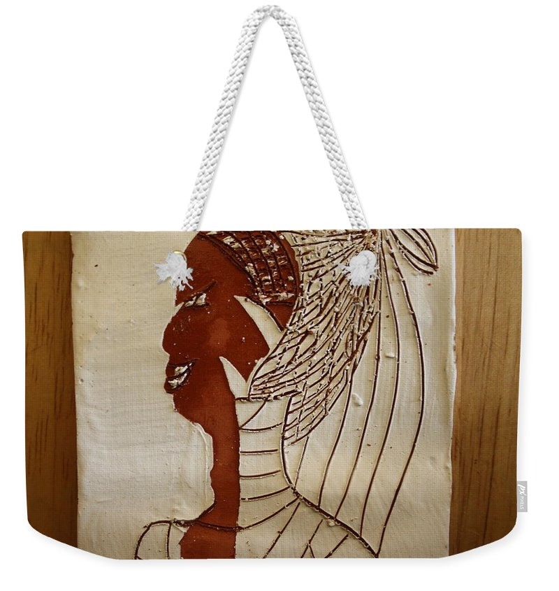 Jesus Weekender Tote Bag featuring the ceramic art Church Lady 5 - Tile by Gloria Ssali