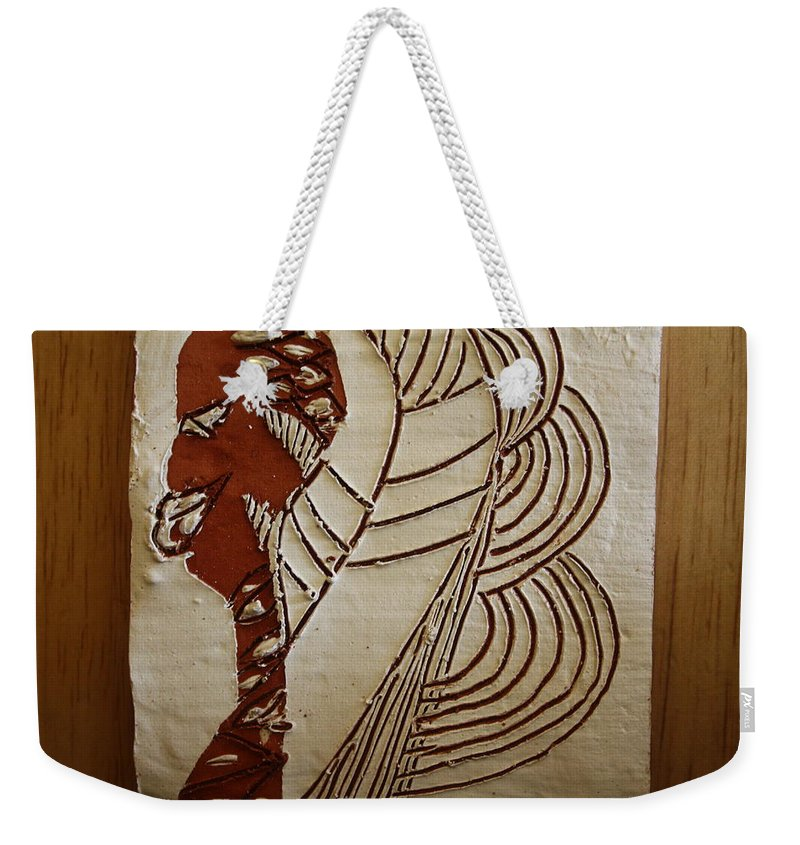 Jesus Weekender Tote Bag featuring the ceramic art Church Lady 6 - Tile by Gloria Ssali