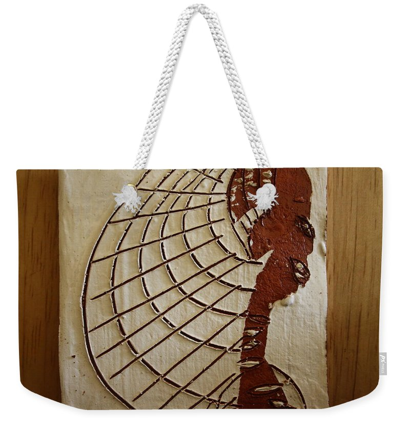 Jesus Weekender Tote Bag featuring the ceramic art Church Lady 8 - Tile by Gloria Ssali