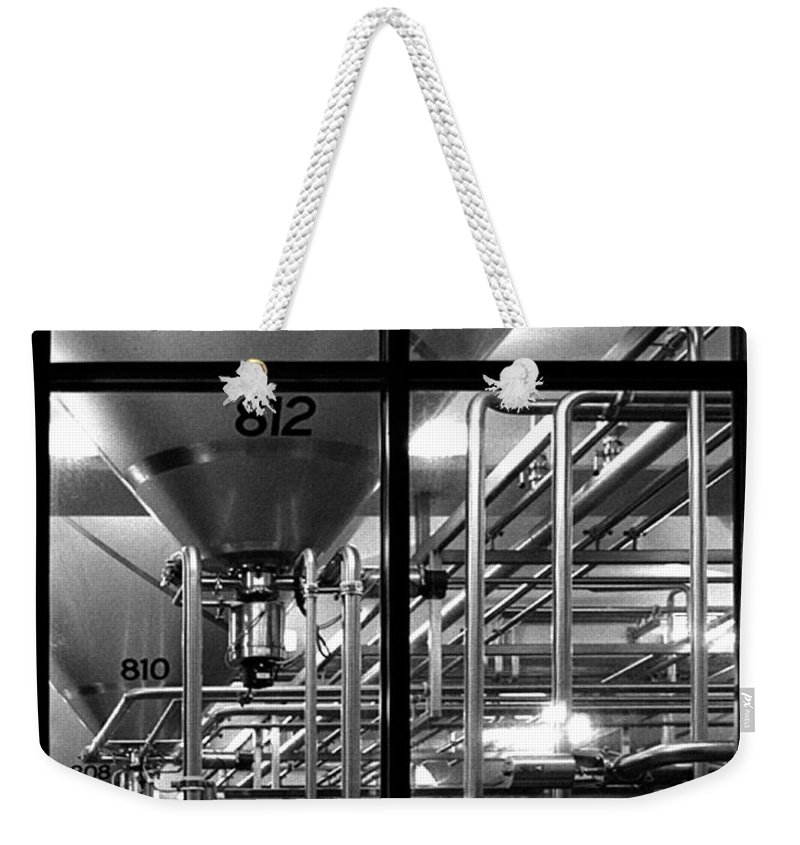 Black And White Weekender Tote Bag featuring the photograph Church Of Modern Man by Peter Piatt